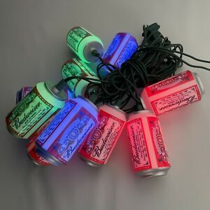 Budweiser Beer Can String Of 10 Patio Lights Indoor Outdoor Red Green Blue 2008