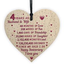 4th Wedding Anniversary Gift Wooden Heart Linen Fourth Wedding Anniversary Gift