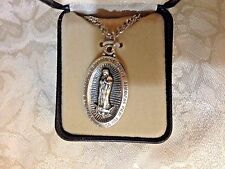 "CREED ""OUR LADY GUADALUPE"" MEDAL Stainless Silver 24"" Chain Gift Case NEW SO3368"