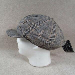 Arthur Payne Men's XL Newsboy Cap Beige Plaid Houndstooth Wool Polyester