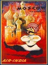 Moscow Russia St. Basil's Cathedral Air India Travel Advertisement Poster
