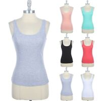 Basic Solid Cotton Round Neck Tight Ribbed Tank Top Casual Easy Wear Comfy S M L