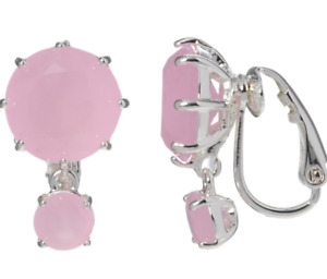 LES NEREIDES PARIS PINK CLIP ON EARRINGS AJLD126C/2 SILVER PLATED GLASS £65