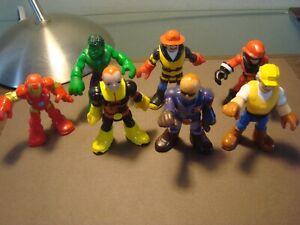 "7,Hasbro,Mattel,Playskool,Heroes,Policeman Fireman,Hardhat, Iron Man,Hulk,2 1/2"""