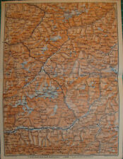 Chur Tirano Valtellina Veltlin Ober unten Engadin Antique map karte 1909 cartina