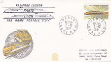 L27 Enveloppe 1 ère liaison PARIS LYON par rame Postale TGV PARIS le 1 10 1984