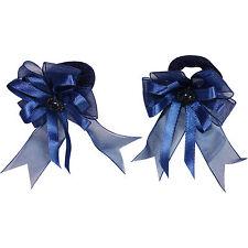 Pair of Small Blue Hair Bow Ribbon Scrunchies Elastics Bobbles Girls Accessories