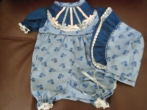 "Hand Made Short Romper Blue w/Blue Flower Print & Navy Accent for a 20-22"" Doll"