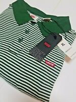New Levi's Men's Housemark Short Sleeve Polo Shirt Green Striped Sz L,XL