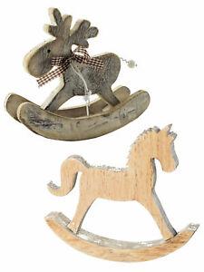 Heaven Sends Wooden Rocking Horse Reindeer Rustic Christmas Decoration Ornament