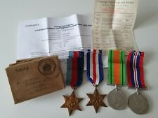 WW2 France & Germany Star Medal Group x4 & Box of Issue to George Minter