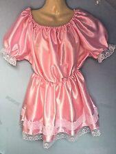 Pink Satin Spitzenkleid Erwachsene Baby Fetisch Sissy Französisch Dienstmädchen