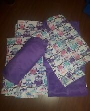 LIVING QUARTERS Purple OWL Queen sheet set fitted two flat pillowcases MIXED SET