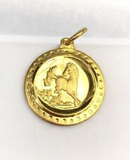 Zodiac 24K Solid Yellow Gold Cute Animal Sign Round Horse Charm/ Pendant. 2.42Gr