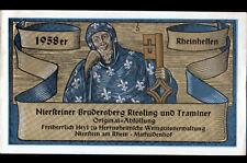 """ETIQUETTE ANCIENNE de VIN """"NIERSTEINER BRUDERSBERG RIESLING"""" MATHILDENHOF 1958"""