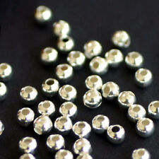 50 Mini Beads Spacers BALLS SMOOTH Metal SILVER 4 MM