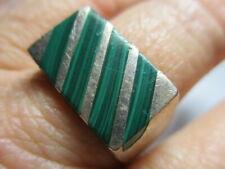 Plata de Ley Antiguo Vintage Taxco Hombre Verde Malaquita Anillo de Banda Talla