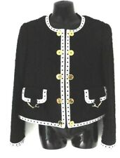 MOSCHINO STUNNING BLACK & WHITE TRIM SMART JACKET SIZE 14 GOLD VIRGIN WOOL