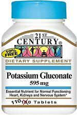 21st Century Potassium Gluconate 595 mg Tablets 110 ea (Pack of 4)
