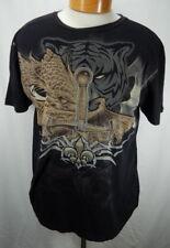 Mens XL Black Brad Butter Tiger Dragon Comb Cotton T-Shirt