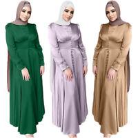 Dubai Women Muslim Maxi Dress Abaya Kaftan Bodycon Fishtail Islamic Robe Ramadan