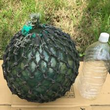 "Antique Japanese Large Glass Fishing Float Buoy Ball Roped Net 35cm 13"" Original"