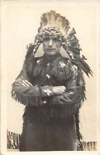 D80/ Native American Indian Real Photo RPPC Postcard c1920s Chief 8