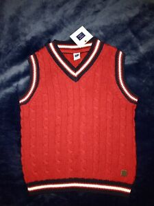 NWT Janie & Jack Boys 6 Red Cable Knit V-neck Sweater Vest 100% Cotton
