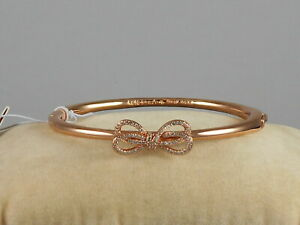 Kate Spade Rose Gold Plate BOW MEETS GIRL Pave' Bow Hinged Bangle Bracelet $78