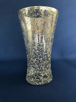 Mid-Century Modern glass spatter painted vase gold & white on clear 1950s