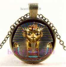 Vintage Egypt Pharaoh Photo Cabochon Glass Bronze Chain Pendant Necklace