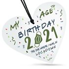 My Birthday Age Lockdown 2021 White Wooden Heart Sign Plaque Family Friends Gift