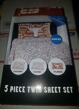 TEXAS LONGHORNS Microfiber 3 Piece Twin Sheet Set 100% Polyester [NEW] NORTHWEST