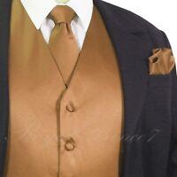 MEN'S Tan Gold Solid Tuxedo Suit Dress Vest Waistcoat and Neck tie Hankie Set