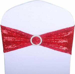 Sequin Chair Sashes Belt Band Ribbon Wedding Events Banquet Decor Cover