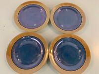 Vintage Japanese Porcelain Iridescent Blue & Gold Set of 4 Plates