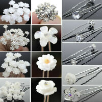 Lot Wedding Bridal Pearl Rose Flower Hair Pins Rhinestone Crystal Clips Decor