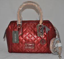 $118 GUESS Juliet Girlfriend Framed Satchel Bag Purse Quilted Signature Charm