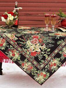 April Cornell Merry Black Tablecloth Lovely Floral Mistletoe & Holly 60 x 120