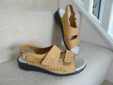 HOTTER BROWN TAN LEATHER COMFORT FLAT SANDALS VELCRO SIZE 5.5 NEW