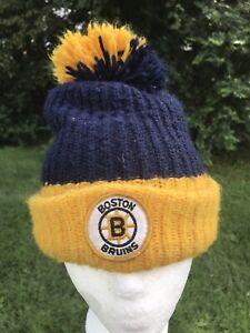 Vtg Boston Bruins Pom Pom Cap Beanie Hat Knit NHL Hockey Blue Yellow Toboggan