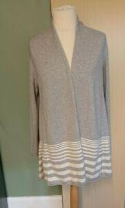 M&S Pure Cashmere long Cardigan Flare Drape Grey Mix Size 14 Ladies Womens
