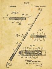 Pool Cue Patent Drawing Metal Sign, Billiards,Vintage, Sport, Den Décor, Office