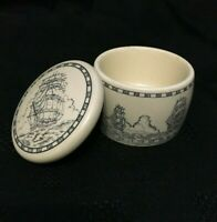 "Faux Scrimshaw ""Three Masted Barque"" Trinket Box"