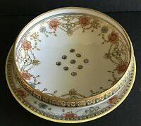 Vintage NIPPON Hand Painted Footed Berry Bowl and Plate Set..Drain Holes Include