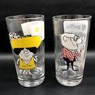 2 Vtg 1950s Osborne Kemper Thomas Barware Humor High Ball Cocktail Glasses 12oz