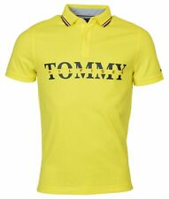 Tommy Hilfiger Men's Slim Custom Fit Yellow Short Sleeve Polo Logo Shirt L