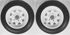 "Two Trailer Tires & Rims 4.80-12 480-12 4.80 X 12 12"" LRB 5Lug Wheel White Spoke"