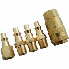 "5 PIECE 1/4"" QUICK COUPLER SET STUBBY 1/4 NPT AIR MALE FEMAL CONNECTOR"