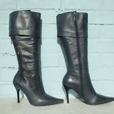 River Island Leather Boots Size Uk 6 Eur 39 Sexy Womens Stiletto Grey Pirate